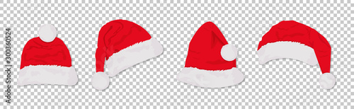 Stampa su Tela  Santa hats red colored set. Winter cap. Vector