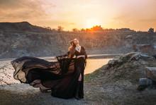 Fantasy Sorceress In Black Flu...