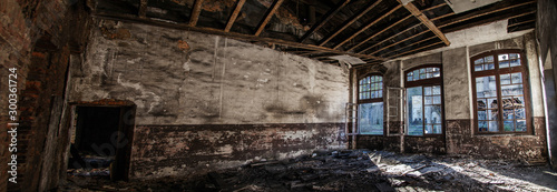 Fototapeta  panorámica interior de fábrica abandonada