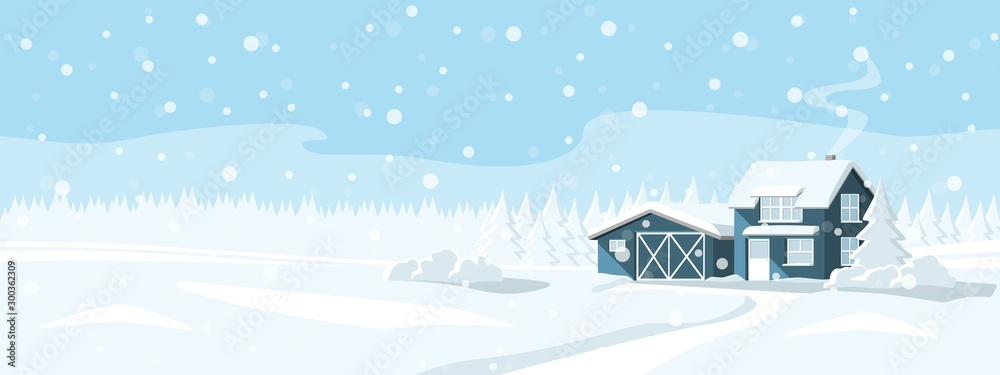 Fototapety, obrazy: House in a snowy forest. Winter wonderland. Vector banner template