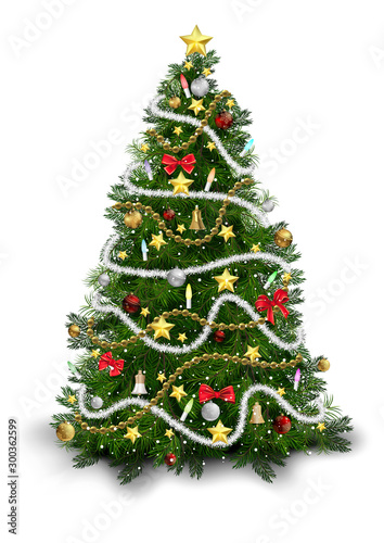 Christmas Tree with Colorful Ornaments Isolated on White Background - Detailed C Tapéta, Fotótapéta