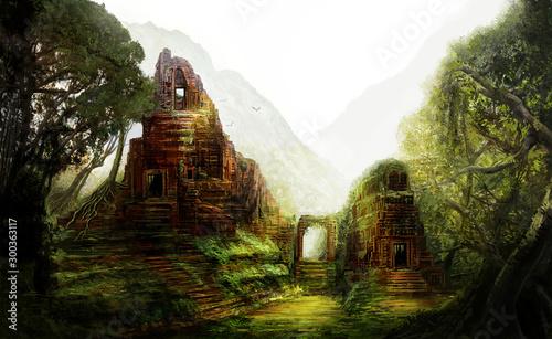Foto Fantasy ancient forgotten temples in the jungles