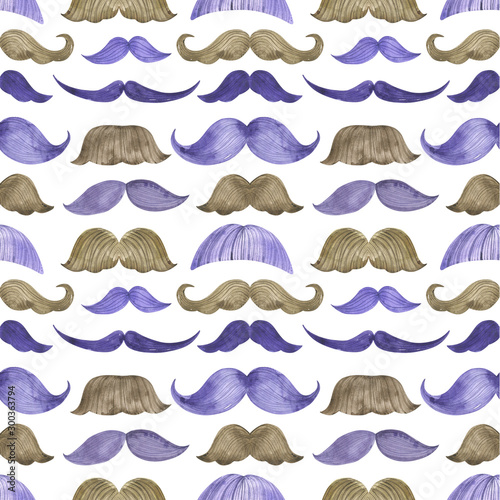 seamless pattern watercolor moustache movember gentleman man Wallpaper Mural
