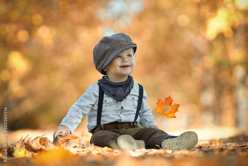 Fototapety, obrazy: Freude im Herbst beim Spielen - kleiner Junge