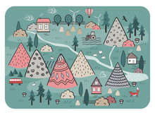 Cute Hand Drawn Scandinavian Vector Background With Houses, Animals, Trees, And Mountains. Outline Nature Landscape. Perfect For Kids Road Mats, Textile, Wall Tapestry