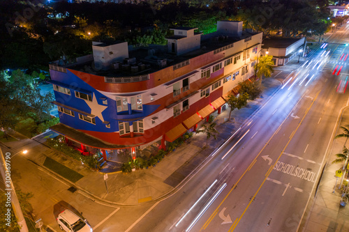 Cuban flag painted on a Miami Florida building shot with aerial drone Wallpaper Mural