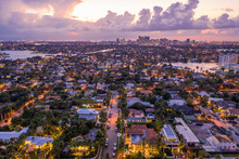 Aerial Twilight Nice Photo Of Idlewyld Neighborhood Fort Lauderdale Florida At Twilight