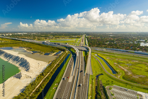 Aerial photo highway overpass Miami Florida Turnpike I75 expressway Canvas Print