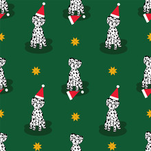Adorable Christmas Dalmatian Puppy Seamless Repeat Pattern With Santa Hats And Yellow Stars On Green Background