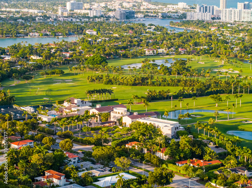 Aerial photo Miami Beach La Gorce country club golf course landscape Canvas Print