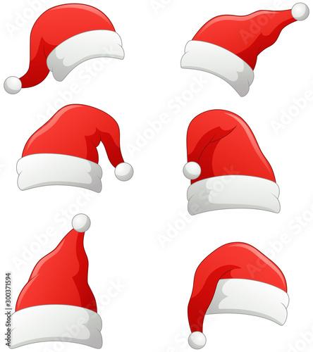 Fotografia  Set of christmas Santa Claus Hats isolated on white background
