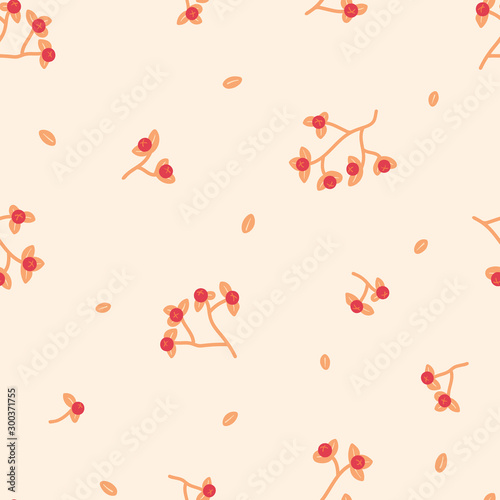 Seamless vector pattern with hand-drawn bittersweet branches and leaves on a cream background Wallpaper Mural