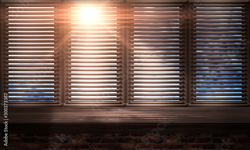 Poster Pierre, Sable Large wooden window. Wooden table, sunshine. wooden blinds. Old brick wall. Room with a large window. 3D illustration.