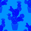 canvas print picture - Creative seamless pattern with hand drawn cactuses in pots. Bright botanical print. Seamless decorative background with cactuses. Can be used for any kind of a decoration design.