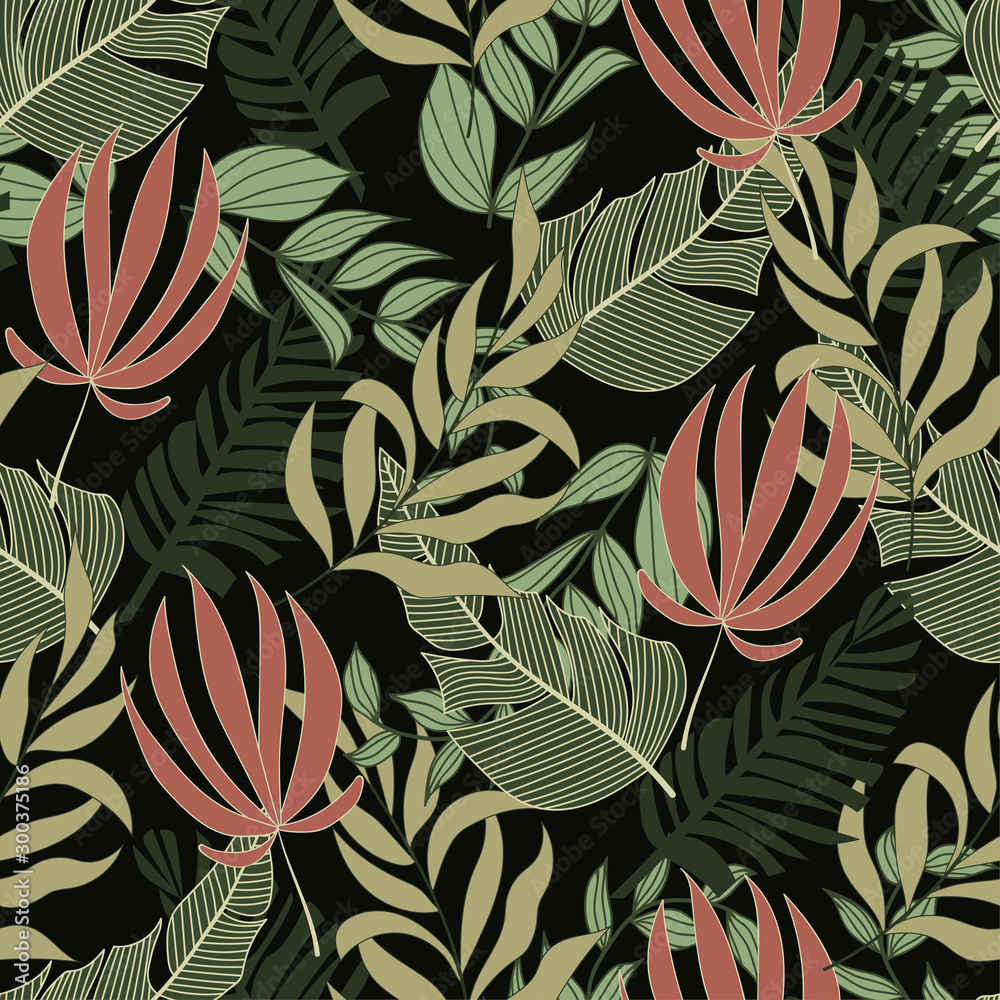 Original summer seamless tropical pattern with bright green and pink plants and leaves on a green background. Seamless exotic pattern with tropical plants. Hawaiian style.