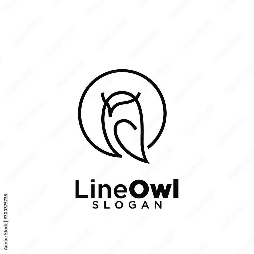 owl line logo icon design vector illustration <span>plik: #300375738 | autor: Alpha Vector</span>