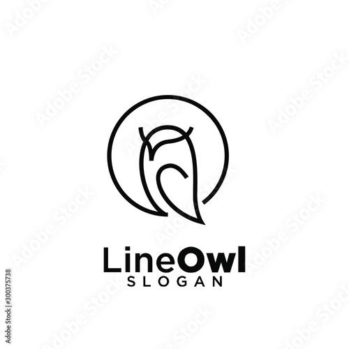 owl line logo icon design vector illustration Fototapete