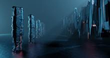 Sci-fi Dark Landscape Metal Block Fantastic Street House. Surreal Alien Apocalypse Concept. 3D Rendering