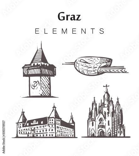 Foto Set of hand-drawn Graz buildings, elements sketch vector illustration