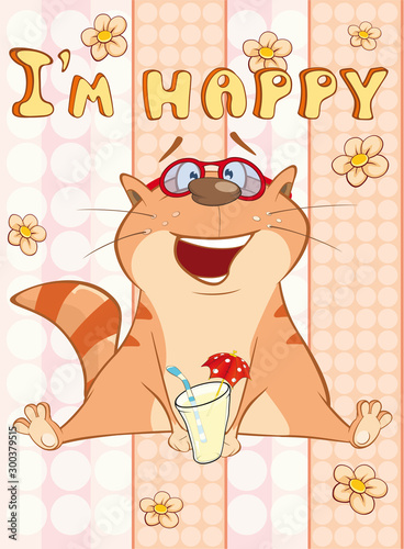 Happy Birthday Card Cute Cartoon Character Cat . Vector Greeting Card. Happy Moment. Congratulation