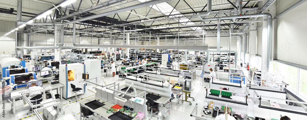 Fototapety, obrazy: modern industrial factory for the production of electronic components - machinery, interior and equipment of the production hall
