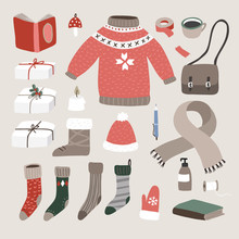 Set Of Cute Hand Drawn Winter, Christmas Lifestyle And Fashion Icons. Knitted Sweater, Cup Of Coffee, Glove, Santa Socks, Gift Boxes, Bookes And Candle. Vintage Flat Design. Isolated Vector Objects.