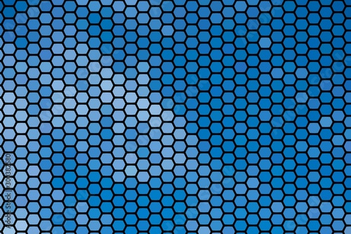 Abstract texture background of geometric shapes blue hexagons Billede på lærred