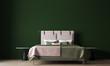 Leinwanddruck Bild - Minimal green bedroom interior design and concrete wall background