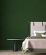 Leinwanddruck Bild - Modern green bedroom interior design and concrete wall background