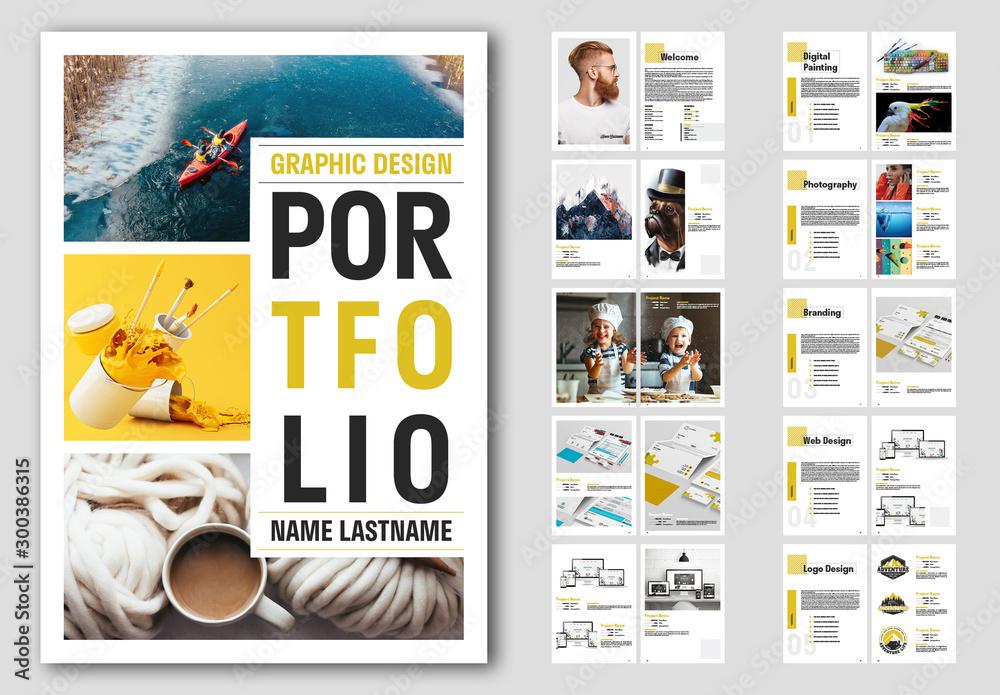 Fototapety, obrazy: Portfolio Layout with Yellow Accents