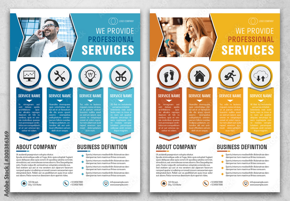 Fototapety, obrazy: Business Flyer Layout with Blue and Orange Accents
