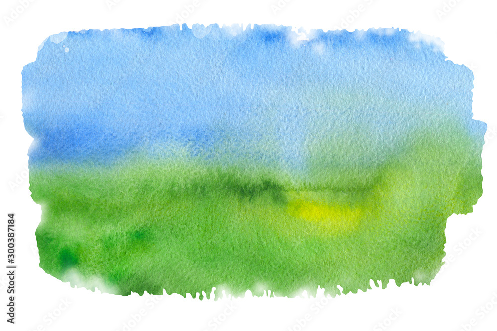 Fototapety, obrazy: Abstract blue and green like sky and grass watercolor textured background on a white isolated background