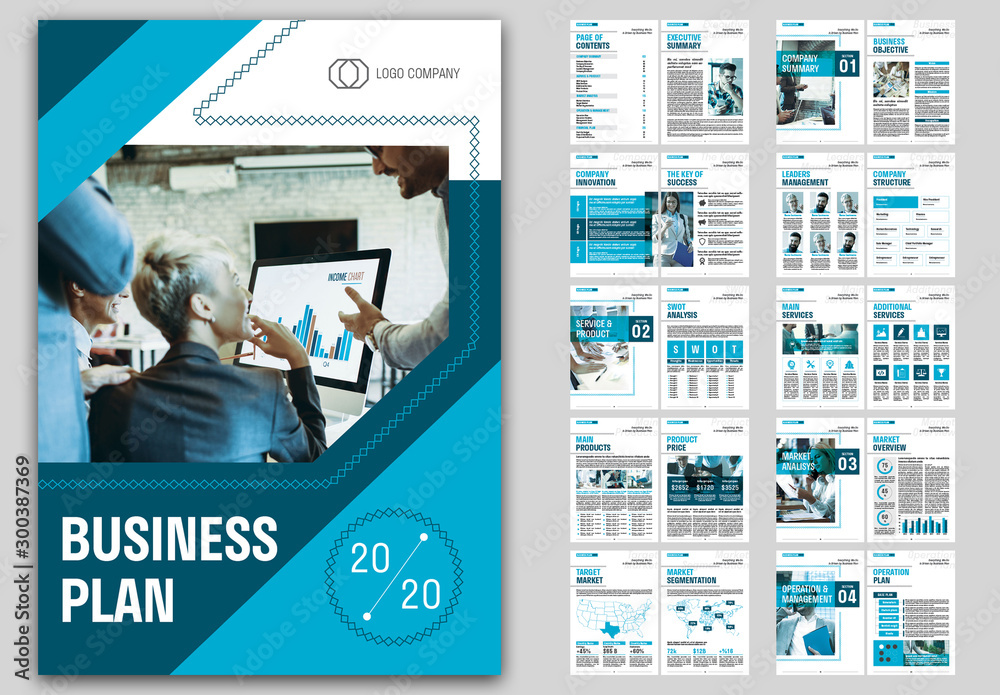 Fototapety, obrazy: Business Plan Layout with Blue Accents