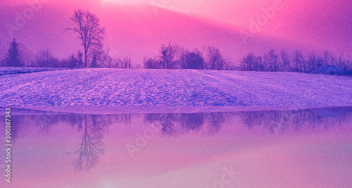 Tuinposter Candy roze sonnenuntergang sonnenaufgang hintergrund spiegelung spiegel wald bäume winter schnee himmel rot
