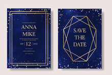 Wedding Invitation Universe Set In Navy Blue With Gold Diamond Frame And Stars, Thank You, Save The Date Card Design, Night Sky With Stars, Space Elegant Rustic Baskground, Vector.