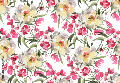 Türaufkleber Künstlich Seamless pattern with watercolor flowers
