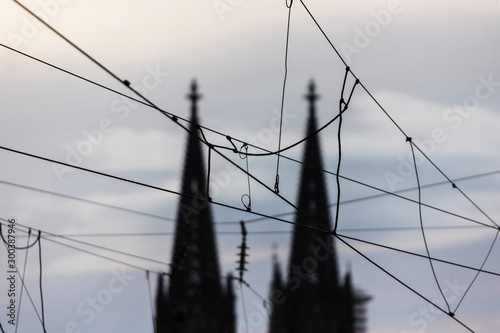 Vászonkép train track overhead line and dom of cologne