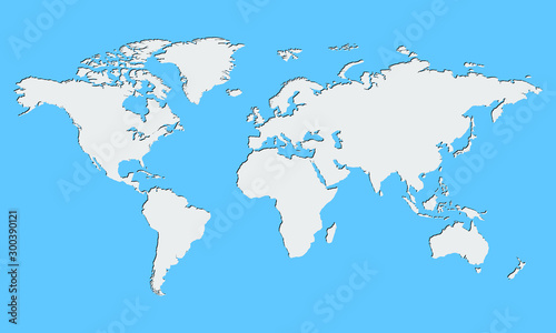 World map vector, isolated on blue background. Flat Earth, gray map template for web site pattern, anual report, inphographics. Globe similar worldmap icon. Travel worldwide, map silhouette backdrop