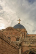 Dome on Church of the Holy Sepulchre in Jerusalem on sky background