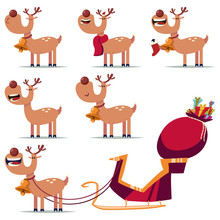 Cute Christmas Reindeer Vector Cartoon Characters Set Isolated On A White Background.