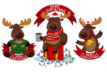 Christmas Reindeer Characters With Red Ribbon Banner. Funny Deer Vector Cartoon Set Isolated On A White Background.