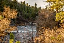 Wooden Footbridge Spanning The Spokane River