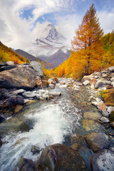 Fototapeta Współczesny Matterhorn over a mountain stream in autumn