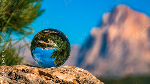 Crystal ball alpine evening landscape shot at the famous Seiser Alm, South Tyrol Canvas Print