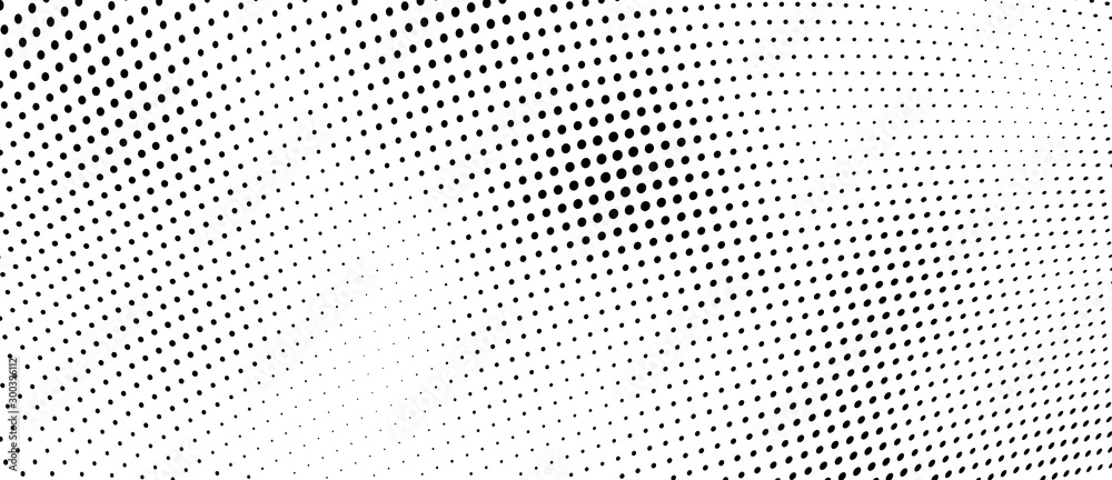 Fototapeta The halftone texture is monochrome. Vector chaotic background