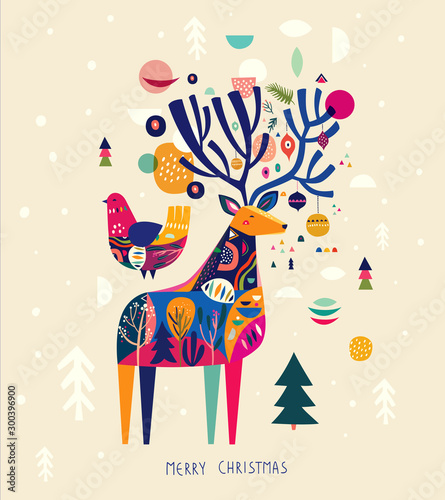 Incredible Christmas illustration with amazing colorful deer and bird.