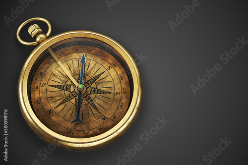Vintage brass compass isolated on black background 3d Fototapeta