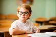 adorable blonde american primary school student with big glasses studying in classroom