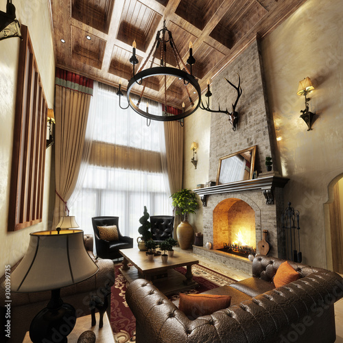 Obraz Luxurious high ceiling cabin interior living room design with roaring fireplace. Photo realistic 3d model scene. 3d rendering    - fototapety do salonu
