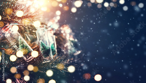 Poster Countryside Merry Christmas and happy new year concept, Close up, Elegant Christmas tree in glass jar decoration.